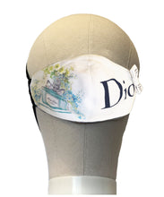 Load image into Gallery viewer, Designer Face Mask: Repurposed Dior Ribbon and Dust Bag Blue
