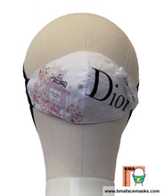 Load image into Gallery viewer, Designer Face Mask: Repurposed Dior Ribbon and Dust bag Pink
