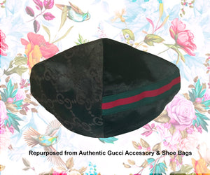 Gucci Designer Face Mask: Gucci Black Satin w/Filter Pocket - 1 QTY