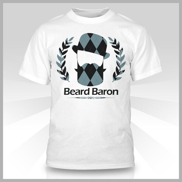 The Beard Baron Premium T-Shirt - Argyle White