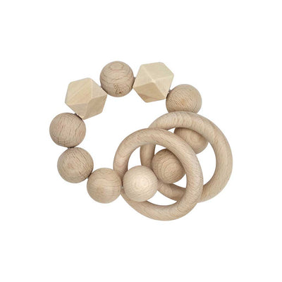 Wooden beaded Bezisa natural rattle with two wooden rings