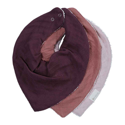 3 pack Bandana Bib in three berry tones