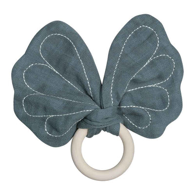 Teething ring with butterfly shaped fabric in Blue Spruce on a maple wooden ring
