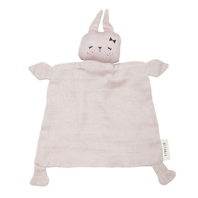 Bunny Comforter in mauve, laid out flat and featuring long ears, a cute bow and freckles.