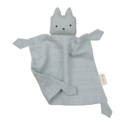 Cat comforter in light blue, scrunched up into a fun position and featuring big ears, a cute nose, eyes and mouth.
