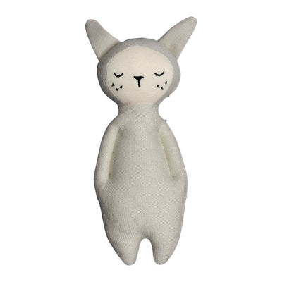 Soft bunny rattle in light grey with big ears, closed eyes and freckles