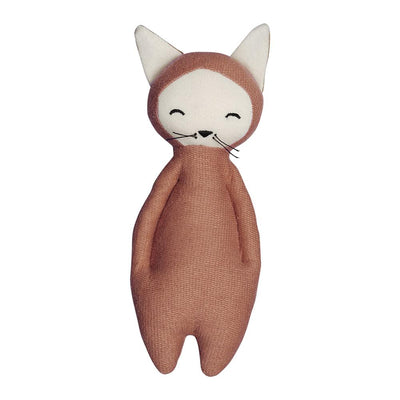 Soft fox rattle in clay with big ears, closed eyes and whiskers