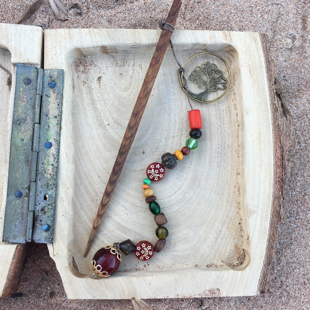 HANDMADE NATURAL WOOD BEADED HAIR STICKS. UNIQUE UP CYCLED WOODEN HAIR ACCESSORIES WOMAN