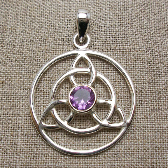Amethyst Celtic Trinity Necklace