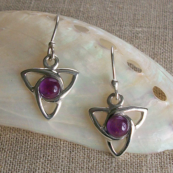 Amethyst Celtic Trinity Earrings