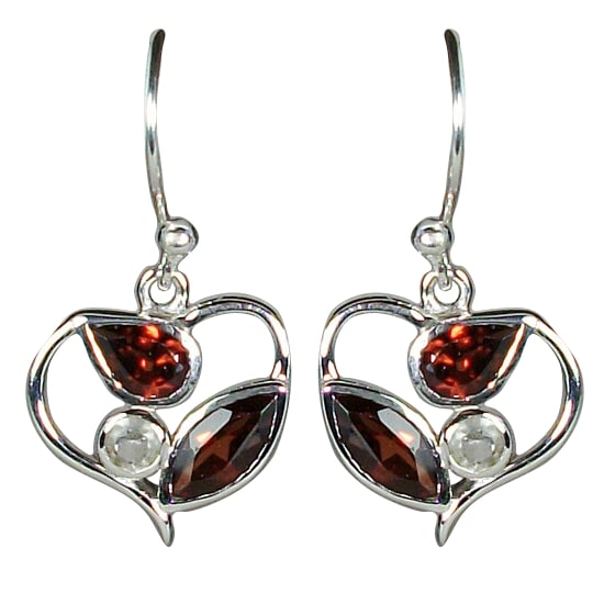Garnet & Crystal Heart Earrings