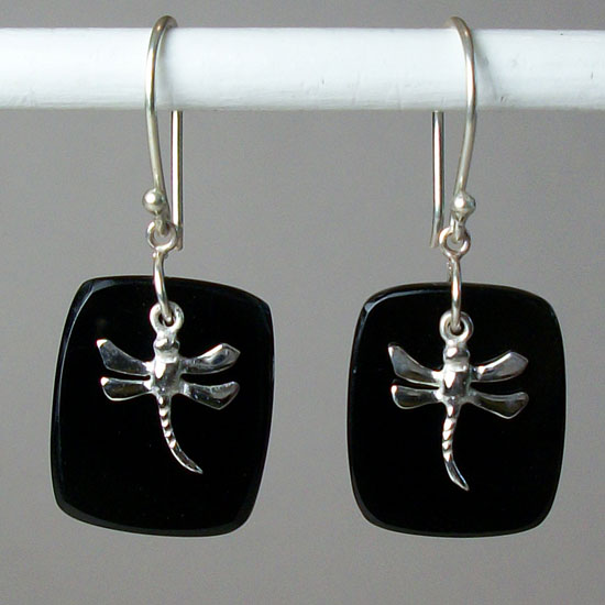 Dragonfly Onyx Earrings