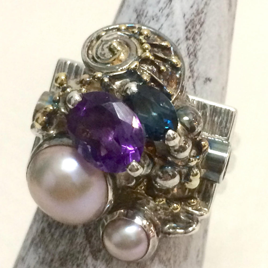 Amethyst & Pearl Stack Ring