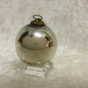 Antique German Silver Kugel Christmas Ornament 2 1/4""