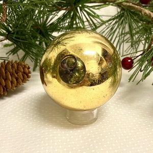 Antique German Gold Kugel Christmas Ornament 2 1/2""