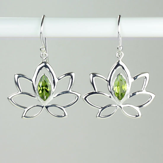 Peridot Lotus Earrings