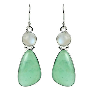 Chrysoprase & Moonstone Earrings