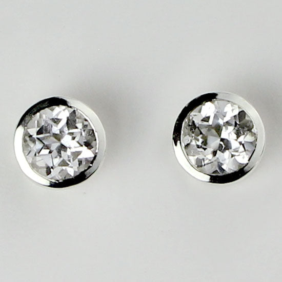 White Topaz Earrings Post