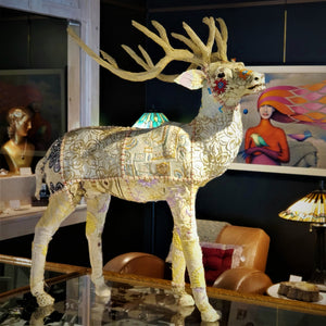 Recycled Sari Stag Sculpture