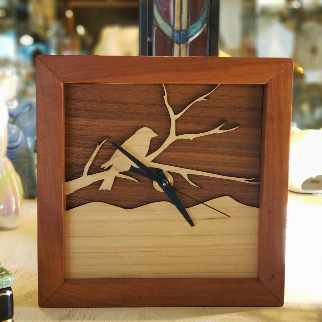 Bird on a Branch Box Clock