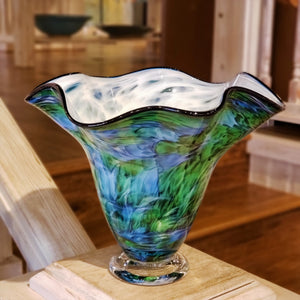 Free Form Tall Wave Handblown Vase
