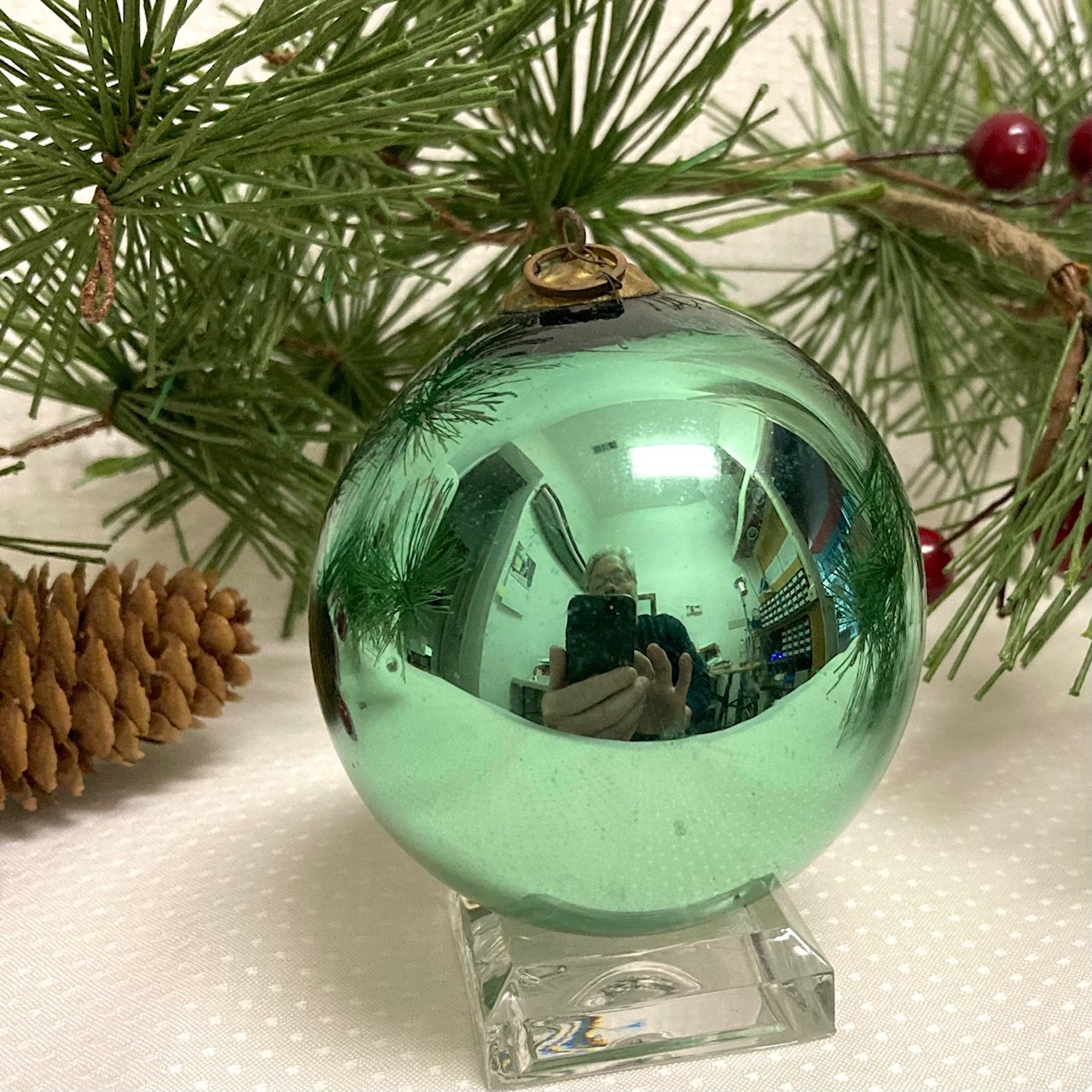 Antique German Kugel Christmas Ornament Lt. Green 2 3/4""