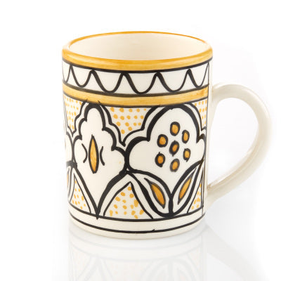 Hand Painted Pottery Yellow Painted Mug