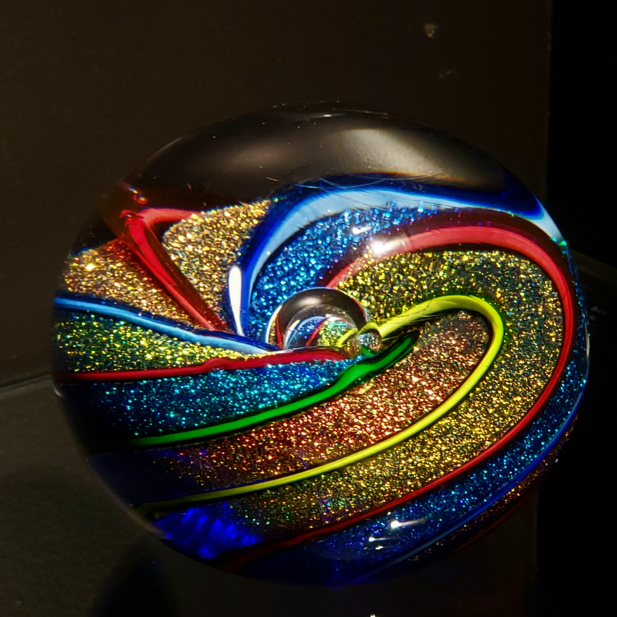 Glass Rainbow Twist Paperweight