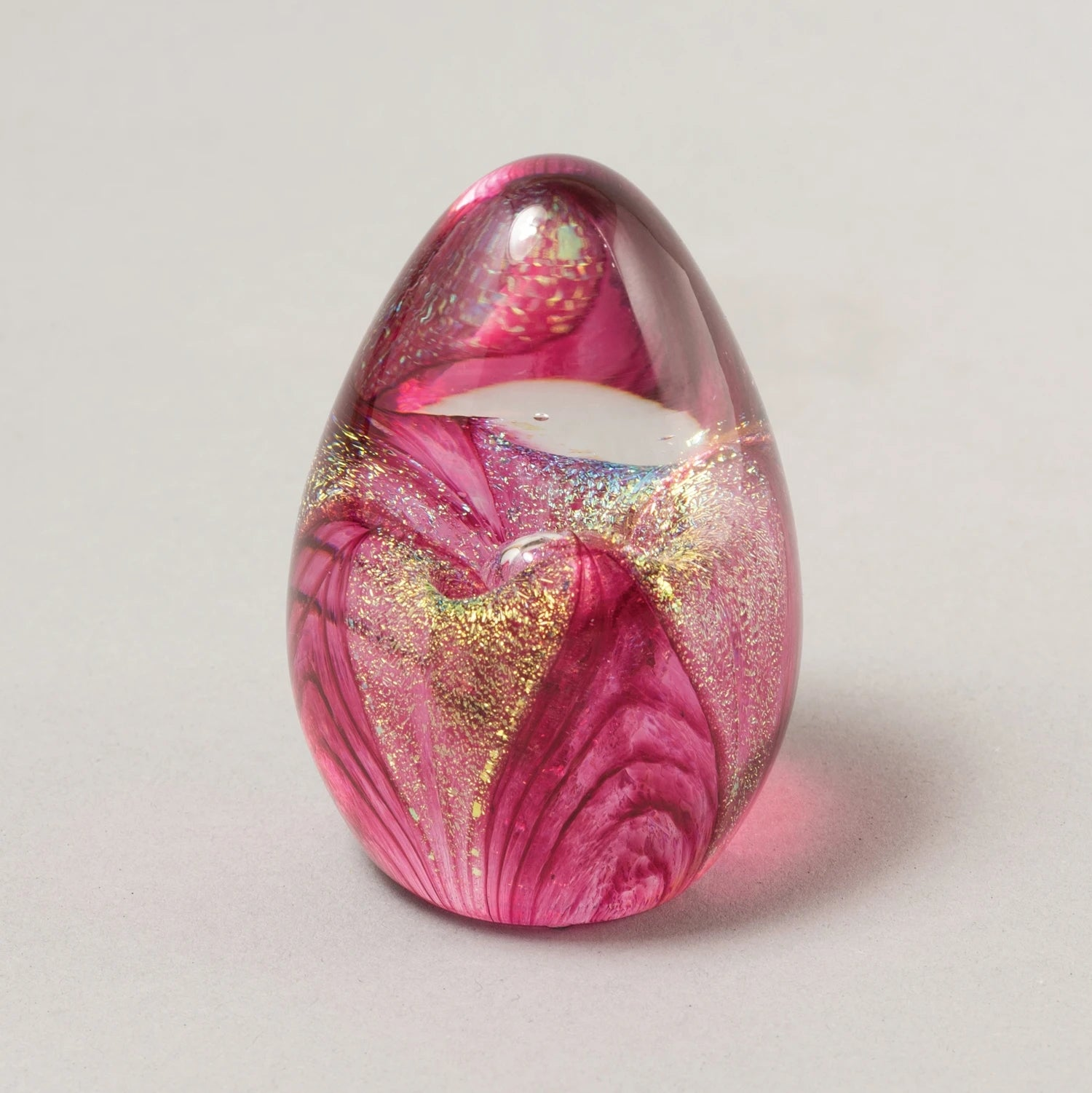 Cranberry Passion Flower Egg Paperweight