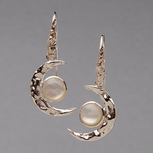 Moonstone Moon Earrings