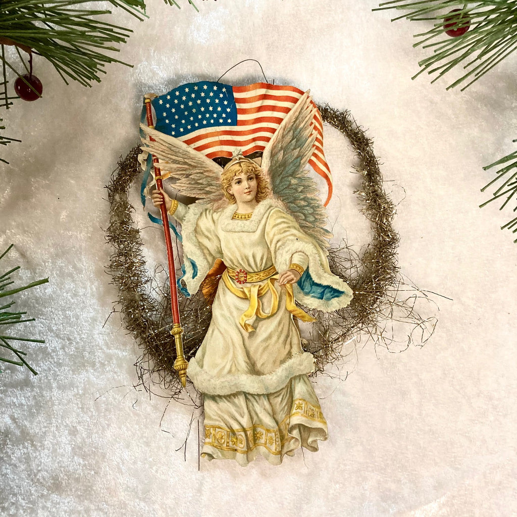Patriotic Angel Scrap & Tinsel Ornament 1912