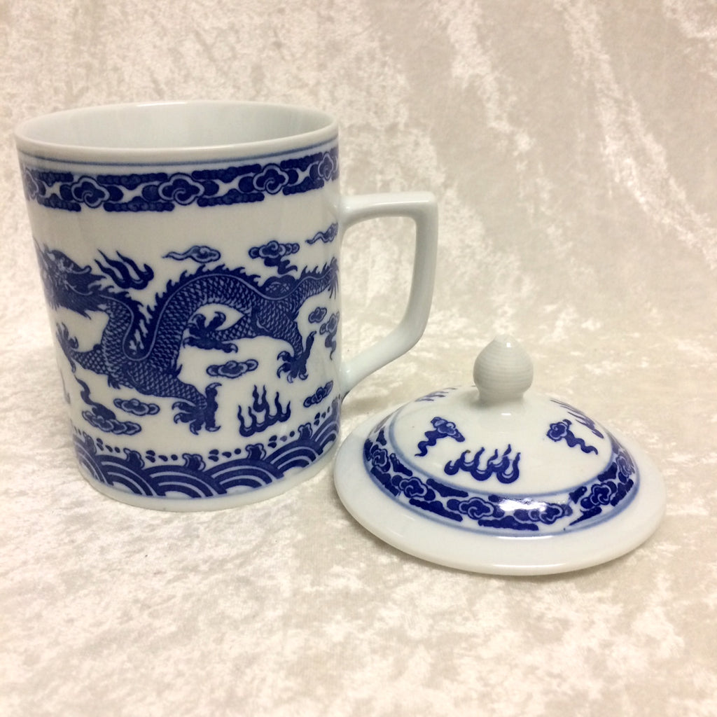 Lidded Blue & White Dragon Tea Mug