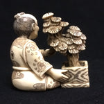Seated Man with Bonsai Antique Netsuke