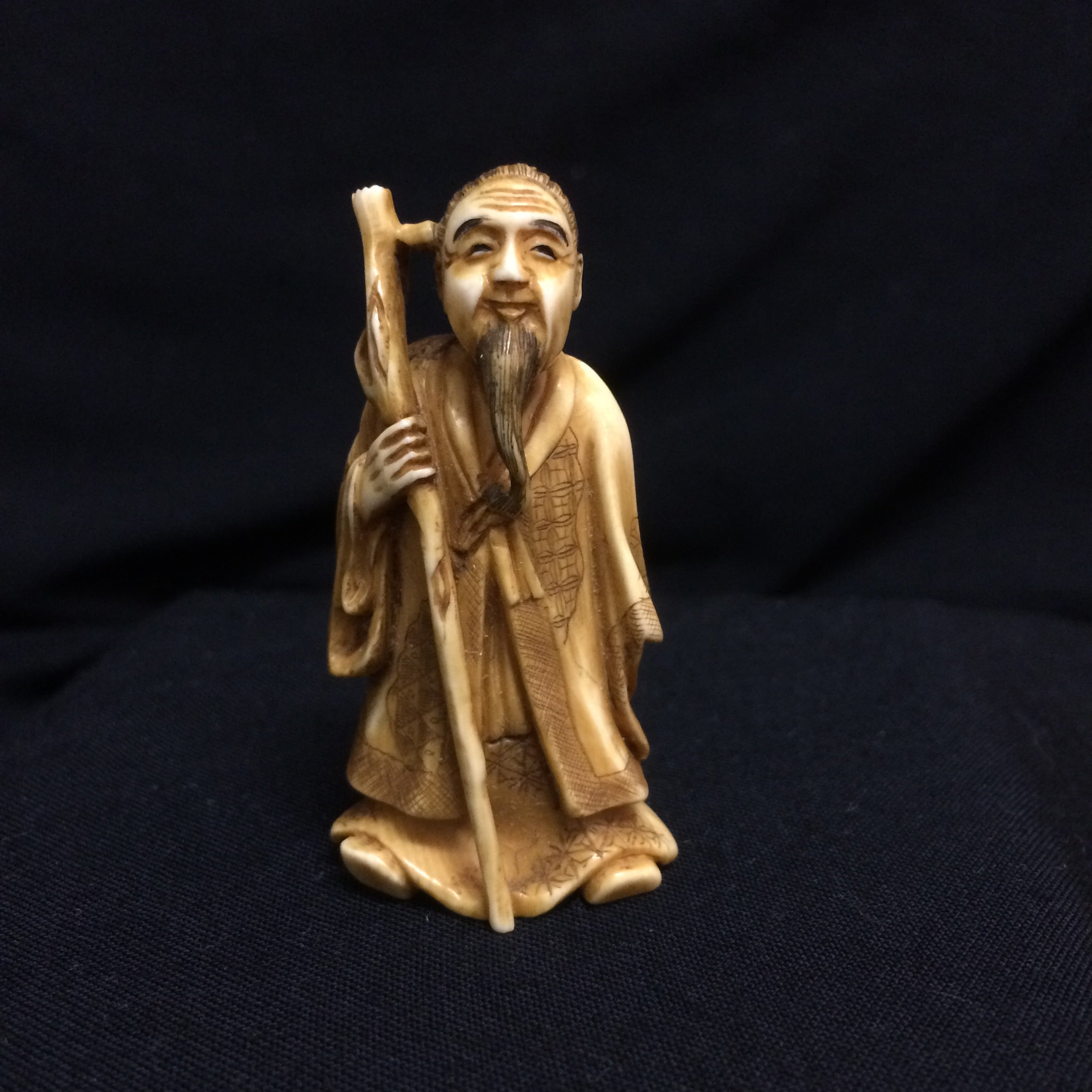 Japanese Netsuke Late 19th century Meiji Era Sage with Staff