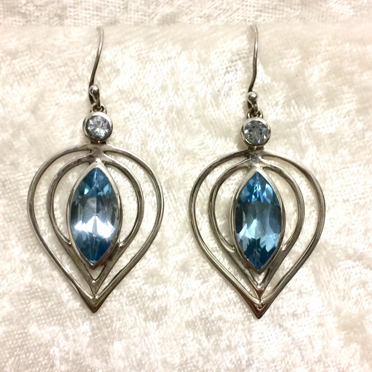 Blue Topaz Marquise Earrings