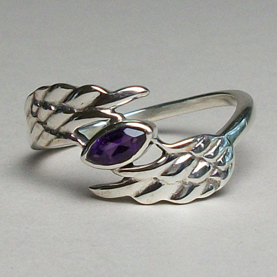 Amethyst Angel Wing Ring