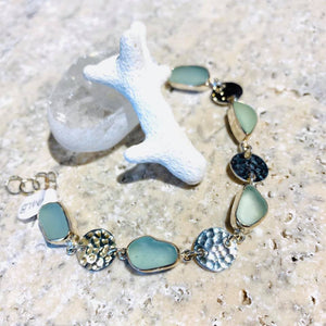 Natural Sea Glass & Sterling Bracelet