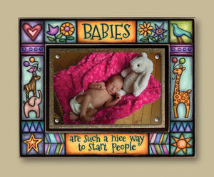 Hand-painted Stoneware Photo Frame