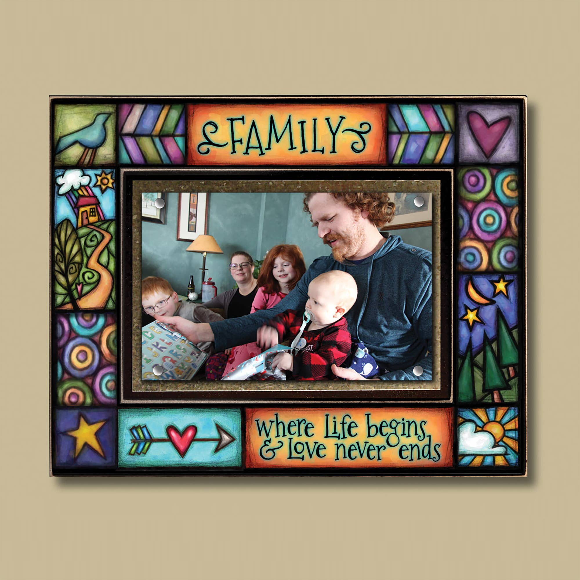 """Family, where life begins and love never ends"" Photo Frame"
