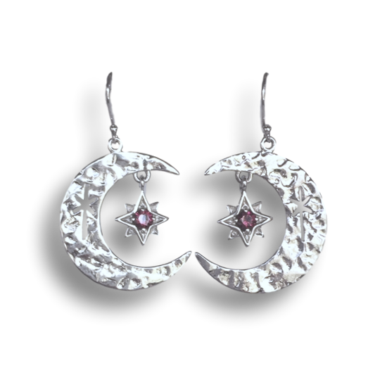 Garnet Moon & Star Earrings
