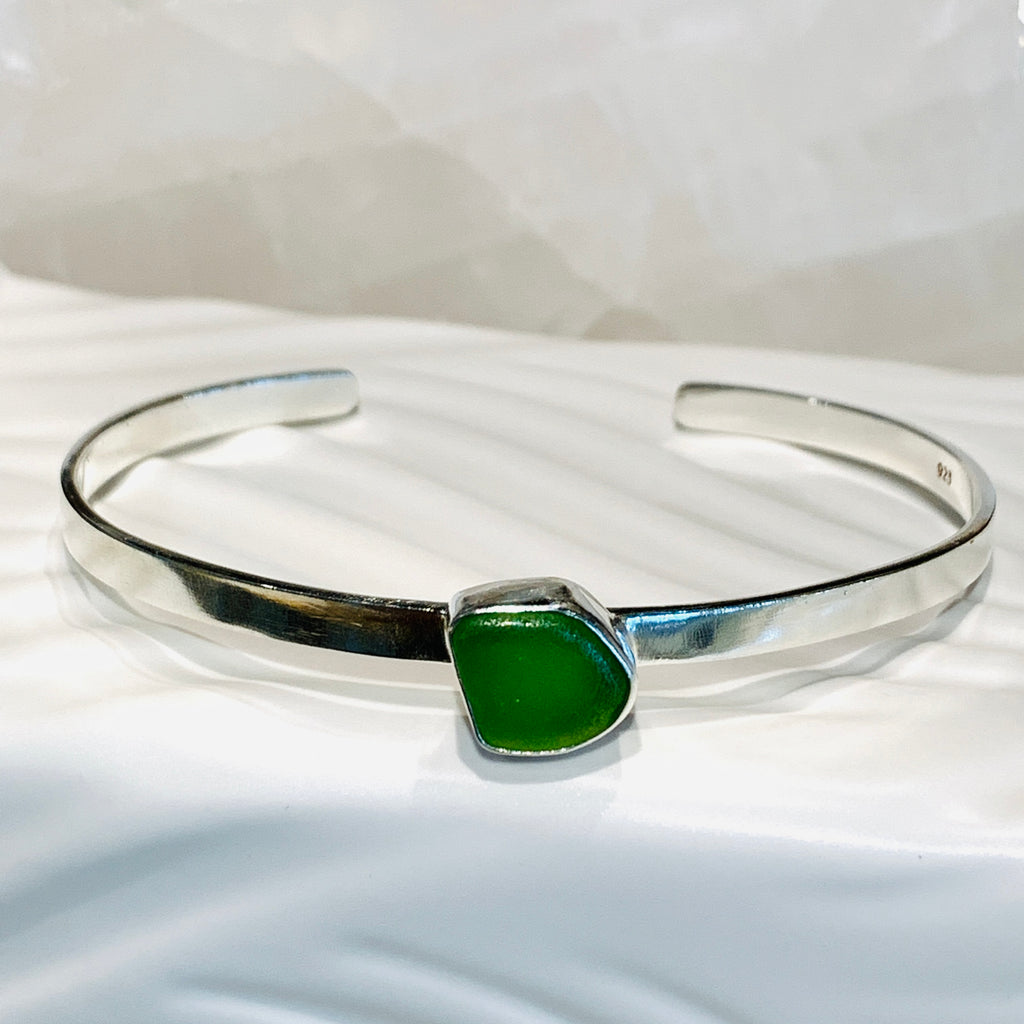 Sea Glass Line Cuff Bracelet Lime Green