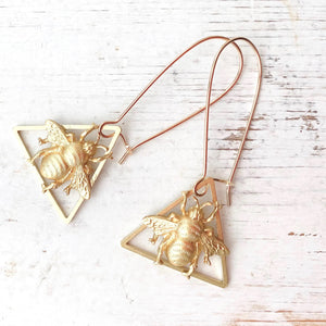 Gold Bee Triangle Earrings