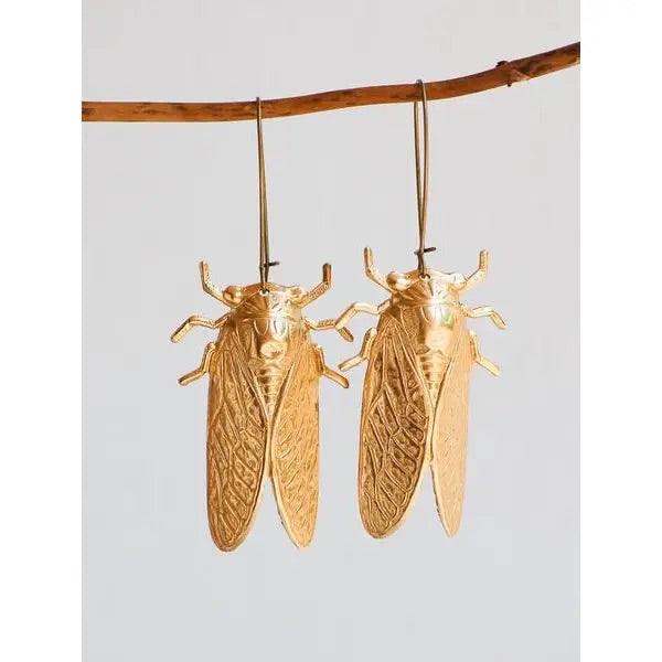 Gold Cicada Earrings