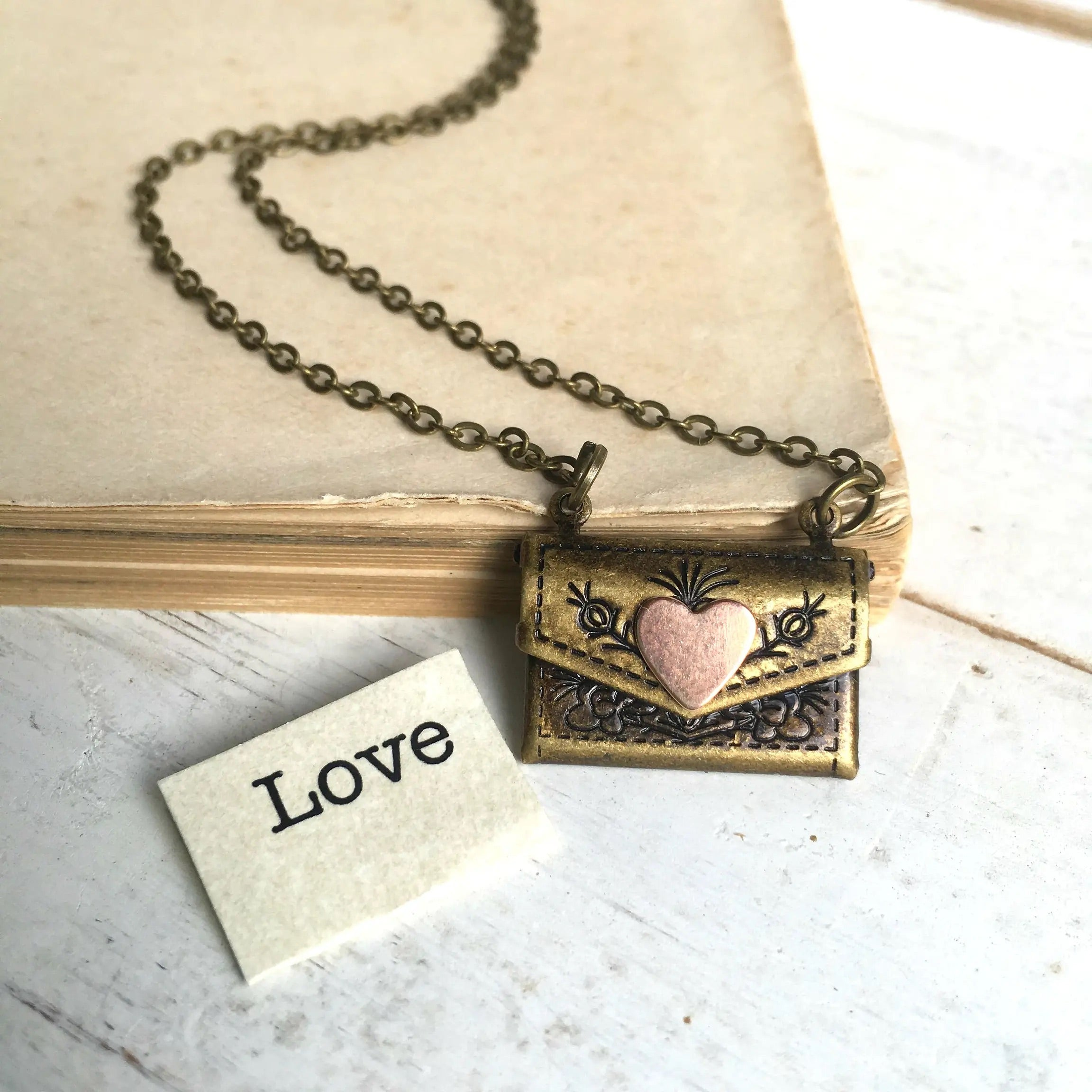 Envelope Locket Necklace Love Letter