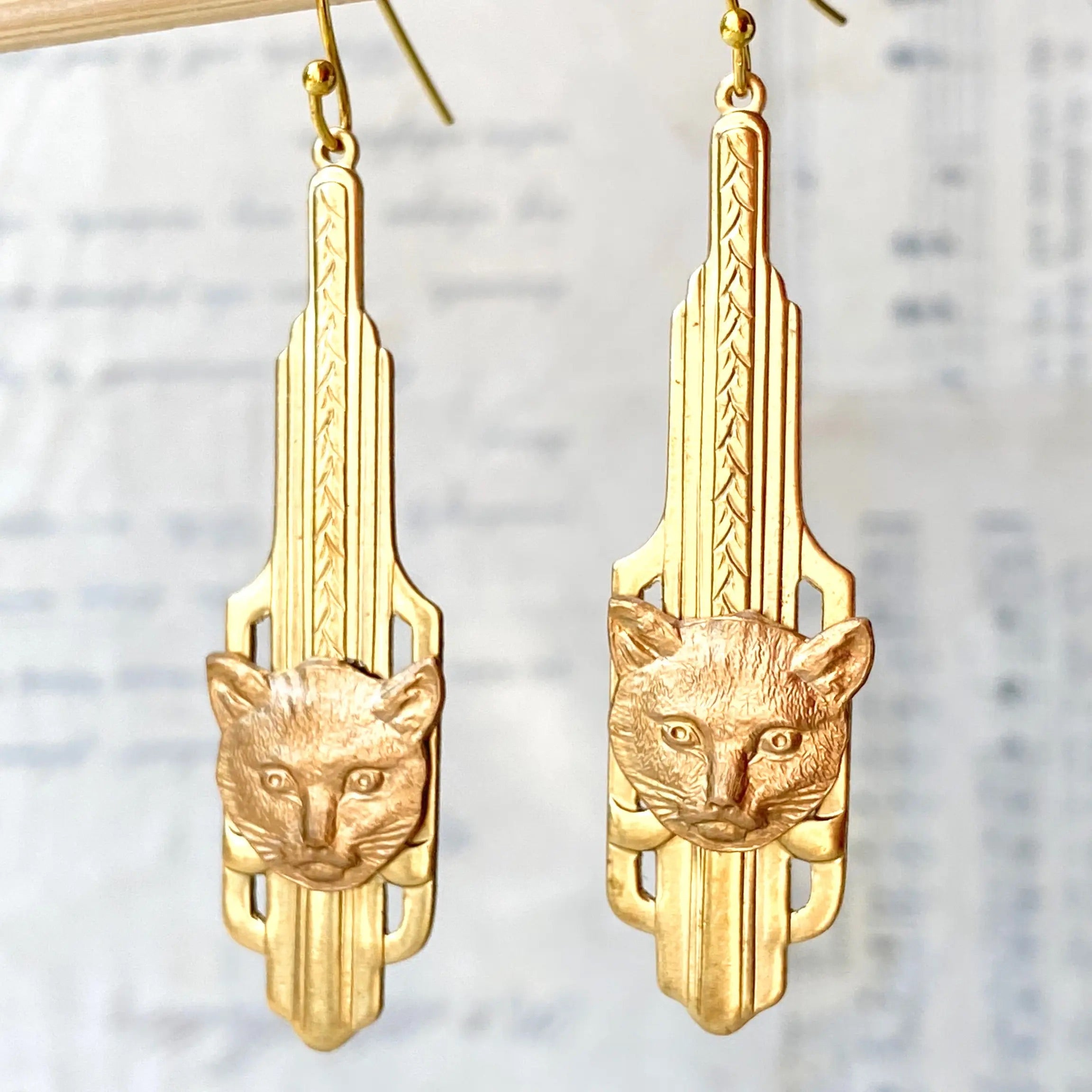 Art Deco Cat Earrings