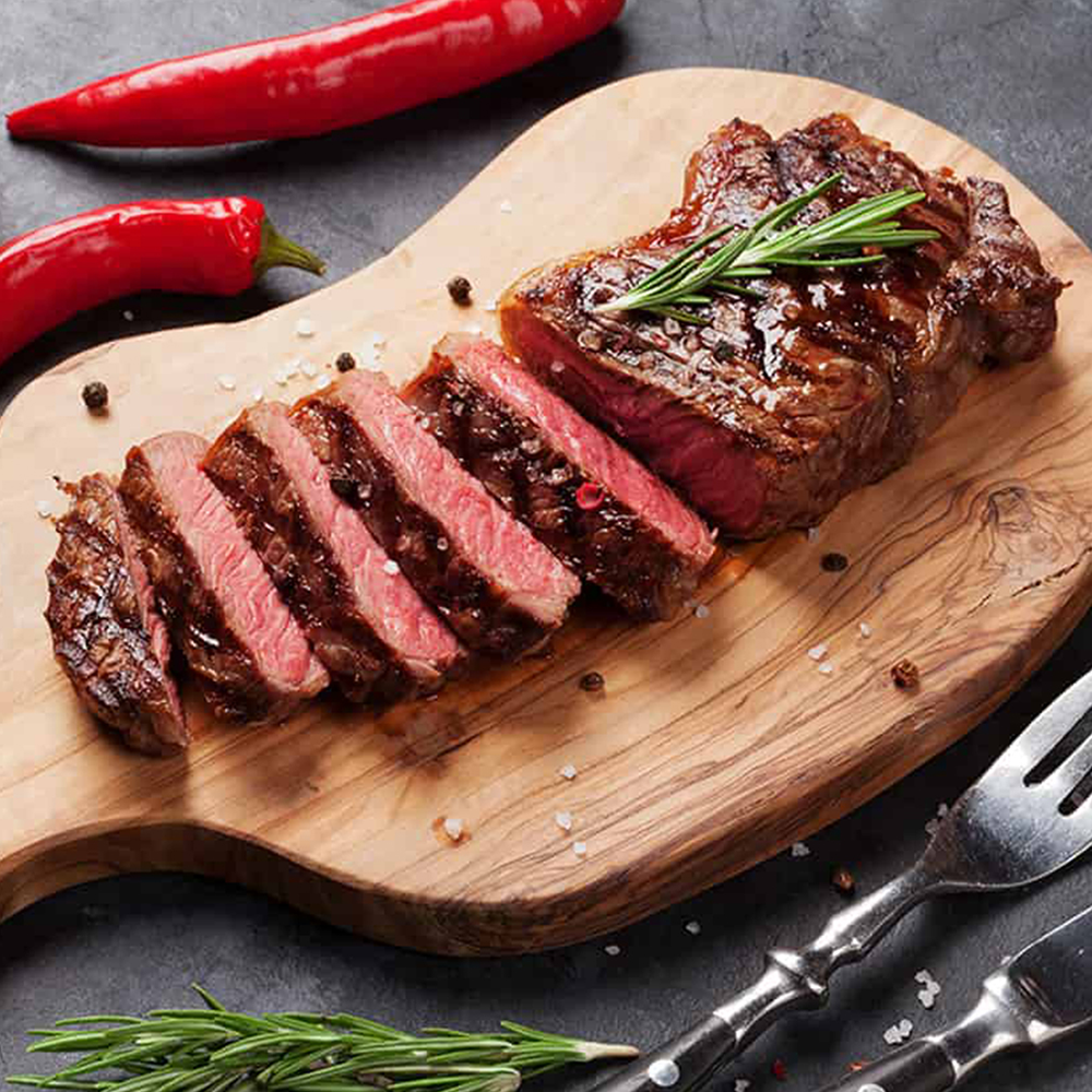 New York Striploin Steaks - This selection contains 8 individually vacuum sealed AAA Certified Angus Beef  New York Striploin Steaks 8oz each.