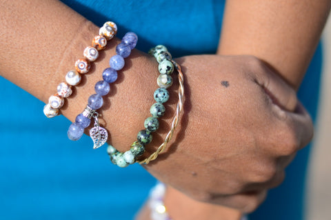 mixing and matching gemstone and metal bracelets calgary