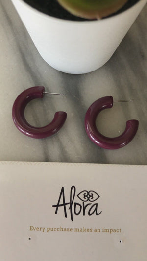 Hayah Resin Hoop Earrings - Maroon