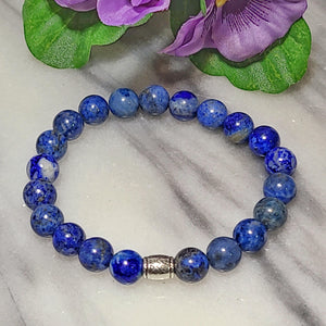 Wisdom, Truth, Self-awareness | Beaded Stretch Bracelet | Lapis Lazuli Gemstone - Alora Boutique