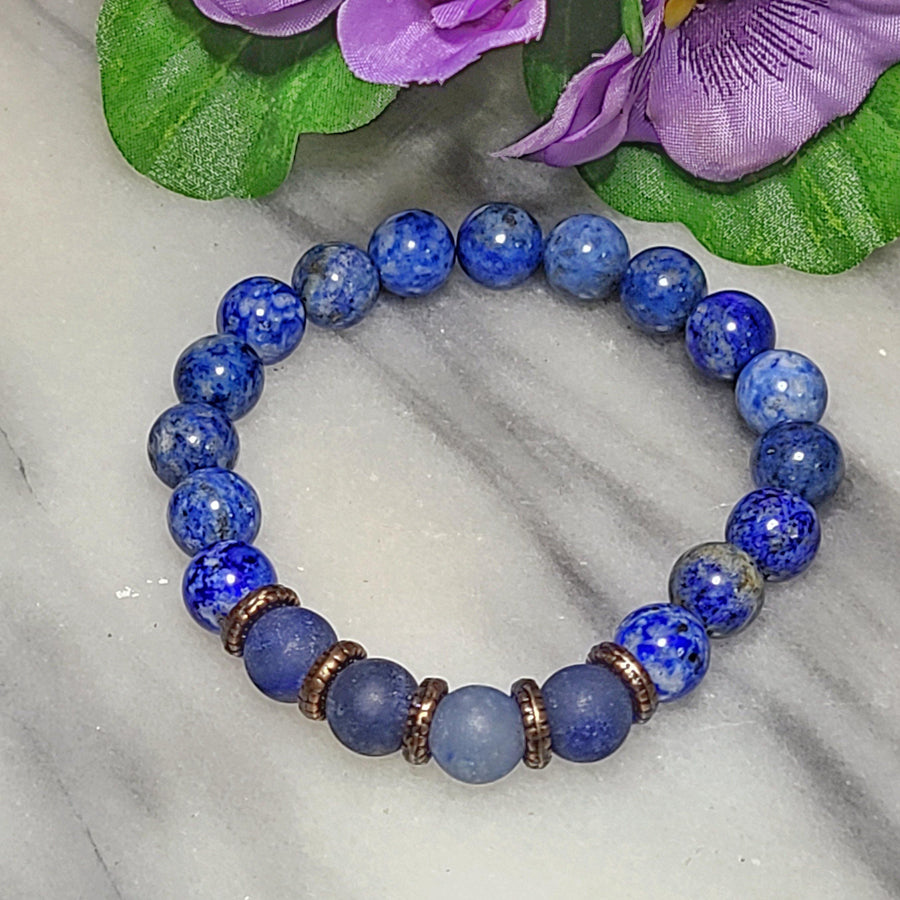 Stephanie | Uniquely Beautiful Gemstone Bracelet | Lapis Lazuli - Matte Blue Aventurine - Alora Boutique